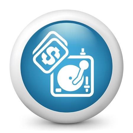 dee jay: Vector illustration of blue glossy icon. Illustration