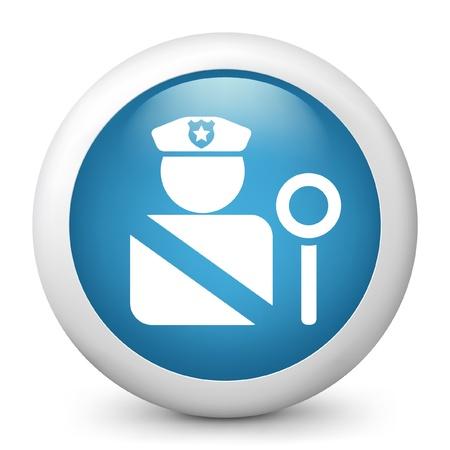 blocco stradale: Illustrazione vettoriale di icona blu lucida.