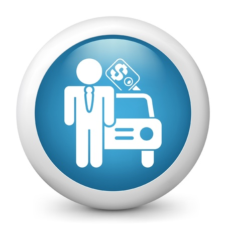 employed: Vector illustration of blue glossy icon. Illustration