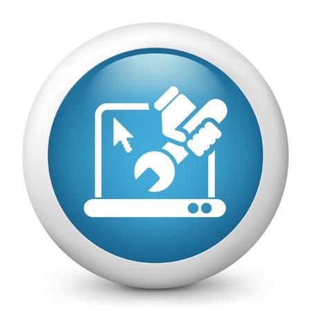 laptop repair: Ilustraci�n vectorial de icono azul brillante.