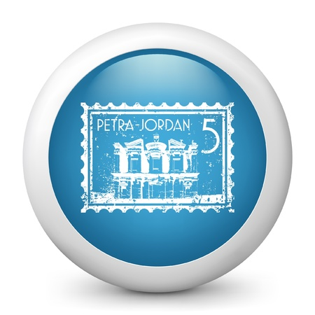 petra: Vector illustration of blue glossy icon. Illustration