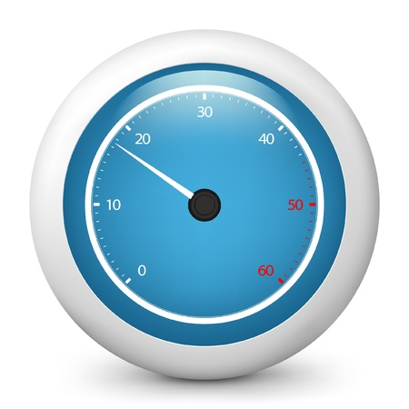 rev counter: Vector illustration of blue glossy icon. Illustration