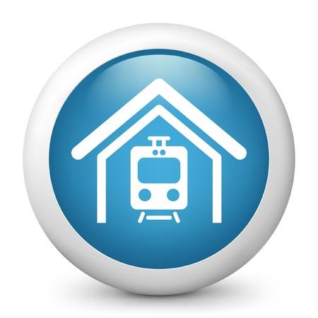 railcar: Vector illustration of blue glossy icon. Illustration