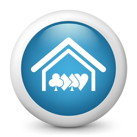 hold'em: Vector illustration of blue glossy icon. Illustration