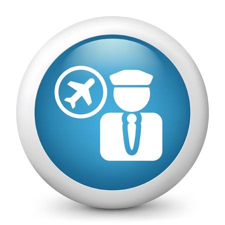 comandante: Illustrazione vettoriale di icona blu lucida.