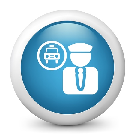 chauffeur: Vector illustration of blue glossy icon. Illustration
