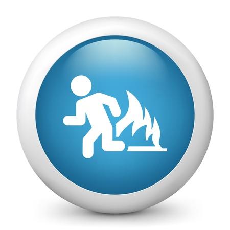 fleeing: Vector illustration of blue glossy icon. Illustration