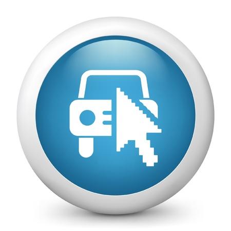 configure: Vector illustration of blue glossy icon. Illustration