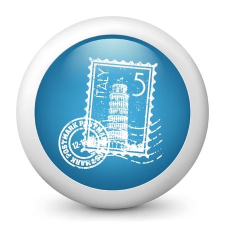 tuscan: Vector illustration of blue glossy icon. Illustration