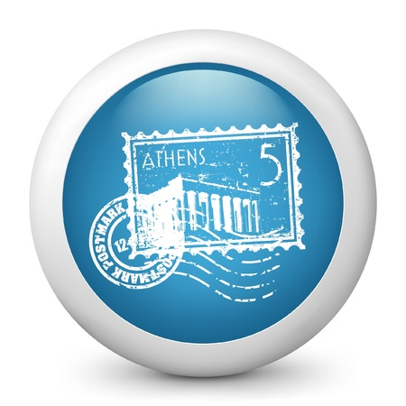 Vector illustration of blue glossy icon. Çizim
