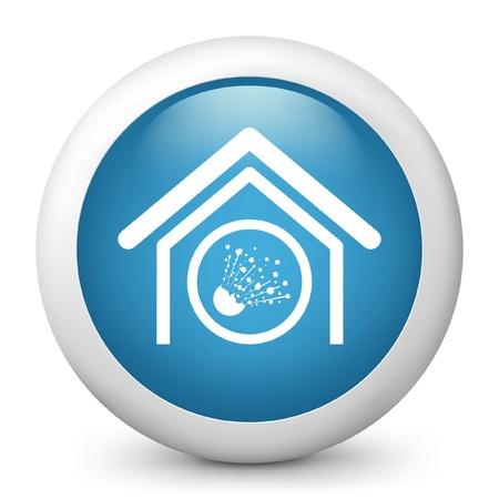 risky: Vector illustration of blue glossy icon. Illustration