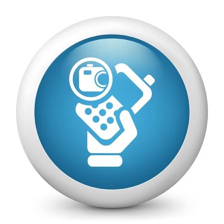 Vector illustration of blue glossy icon. Ilustração