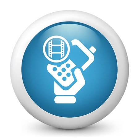 cellulare: Vector illustration of blue glossy icon. Illustration