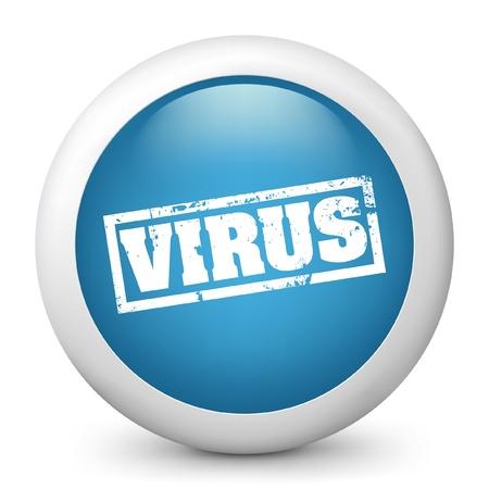 virus alert: Vector illustration of blue glossy icon. Illustration