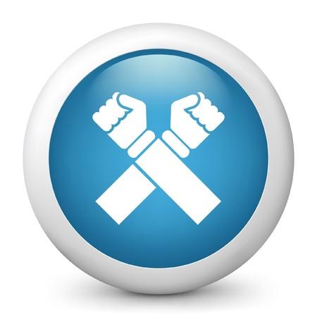 denial: Vector illustration of blue glossy icon. Illustration