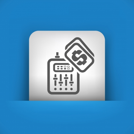 dee jay: Vector illustration of single blue and gray isolated icon.