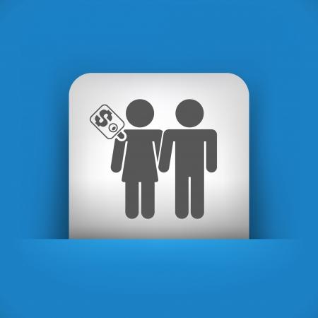prostitue: Vector illustratie van enkele blauw en grijs pictogram geïsoleerd. Stock Illustratie