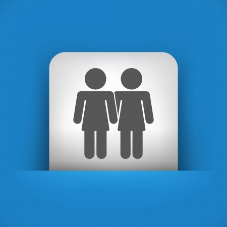 lesbo: Vector illustration of single blue and gray isolated icon.
