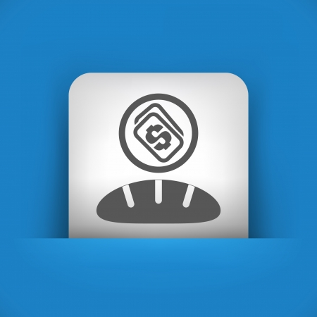 bakery price: Vector illustration of single blue and gray isolated icon.
