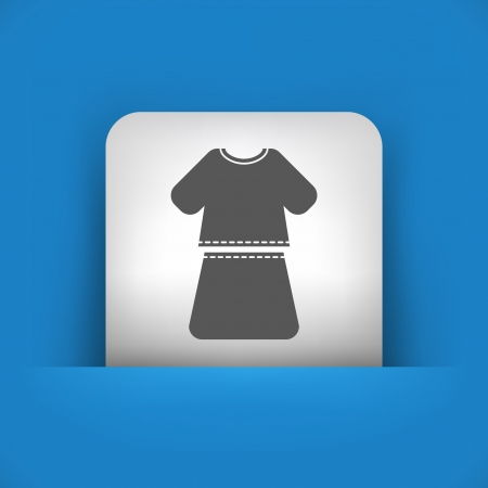 miniskirt: Vector illustration of single blue and gray isolated icon.