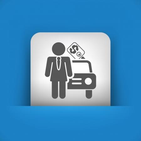 car showroom: Ilustraci�n vectorial de icono �nico aislado azul y gris.