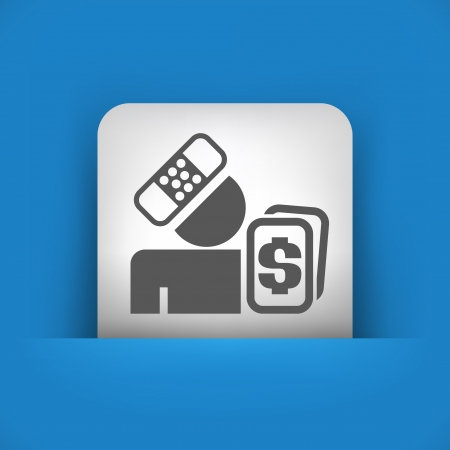 reimbursement: Vector illustration of single blue and gray isolated icon.