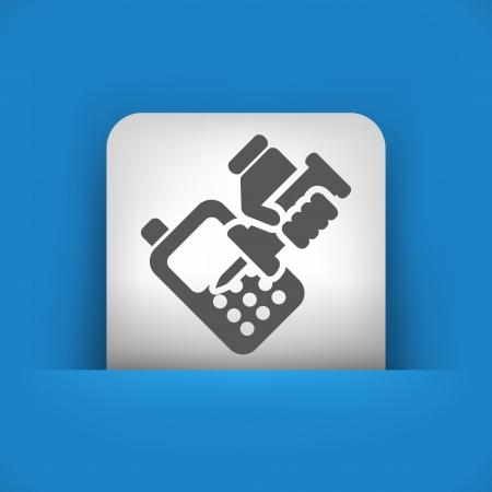 riparatore: Illustrazione vettoriale di singolo blu e grigio icona isolato.