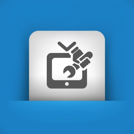 televised: Vector illustration of single blue and gray isolated icon.