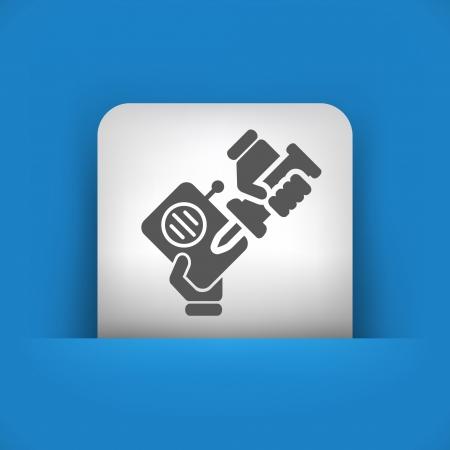 reparations: Ilustraci�n vectorial de icono �nico aislado azul y gris.