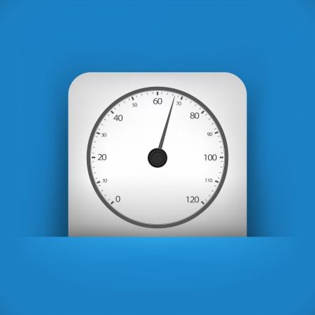 rev counter: Vector illustration of single blue and gray isolated icon.