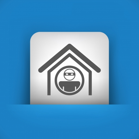 thug: Vector illustration of single blue and gray isolated icon.