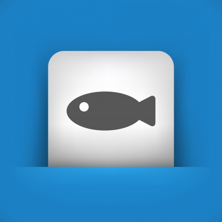 fisheries: Vector illustration of single blue and gray isolated icon.