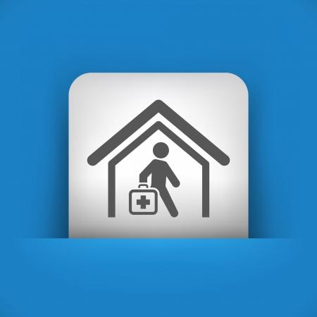 medical assistant: Ilustraci�n vectorial de icono �nico aislado azul y gris.