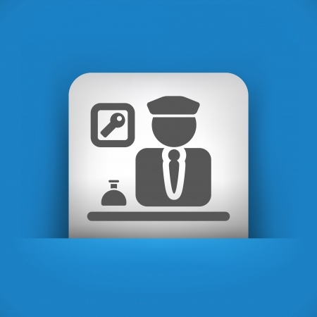 caretaker: Vector illustration of single blue and gray isolated icon.