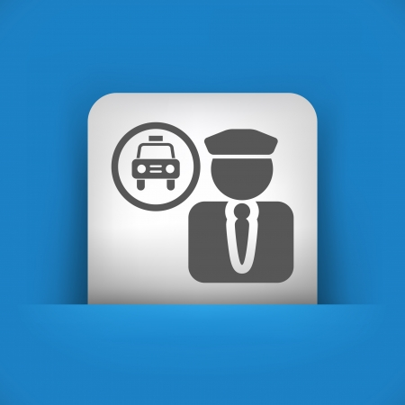 chauffeur: Vector illustration of single blue and gray isolated icon.