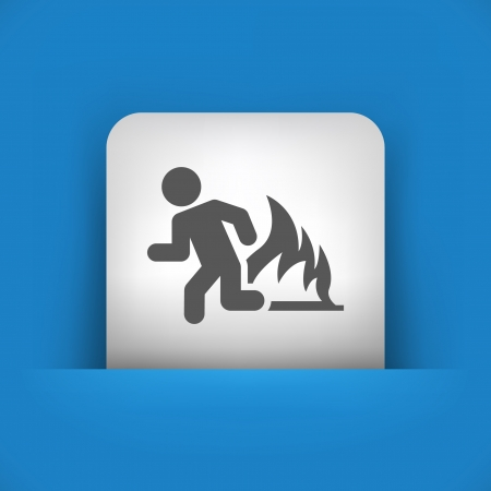 fleeing: Vector illustration of single blue and gray isolated icon.
