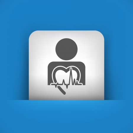 cardiologist: Vector illustration of single blue and gray isolated icon.