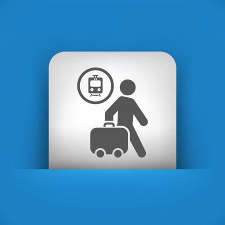 railcar: Vector illustration of single blue and gray isolated icon.