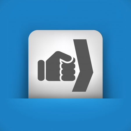 overthrow: Vector illustration of single blue and gray isolated icon.
