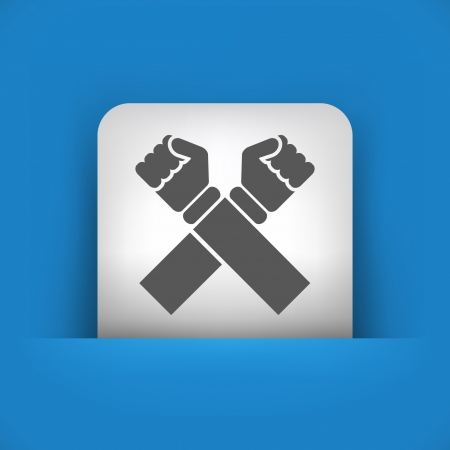 denial: Vector illustration of single blue and gray isolated icon.