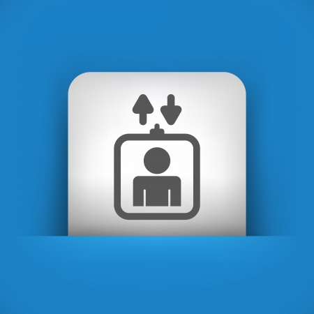 domicile: Vector illustration of single blue and gray isolated icon.