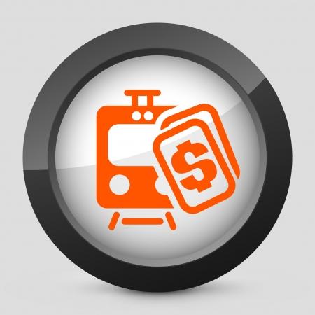 railcar: Vector illustration of single isolated elegant orange glossy icon. Illustration