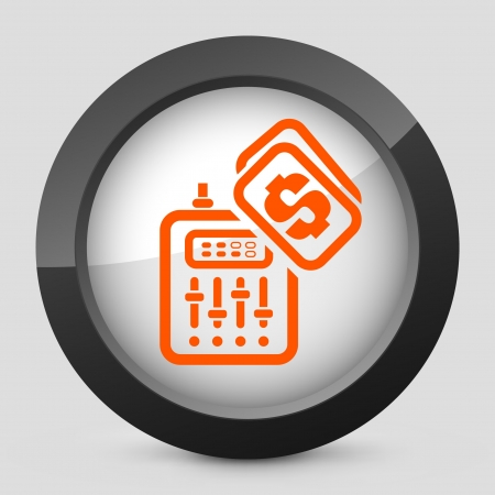 dee jay: Vector illustration of single isolated elegant orange glossy icon. Illustration