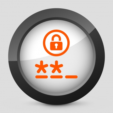 credentials: Vector illustration of single isolated elegant orange glossy icon. Illustration