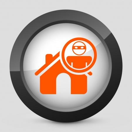 thug: Vector illustration of single isolated elegant orange glossy icon. Illustration