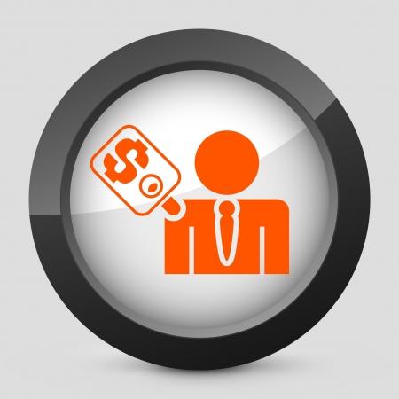 corrupted: Vector illustration of single isolated elegant orange glossy icon. Illustration