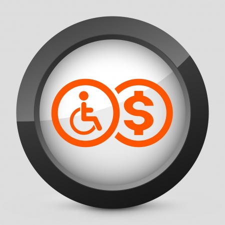 reimbursement: Vector illustration of single isolated elegant orange glossy icon. Illustration