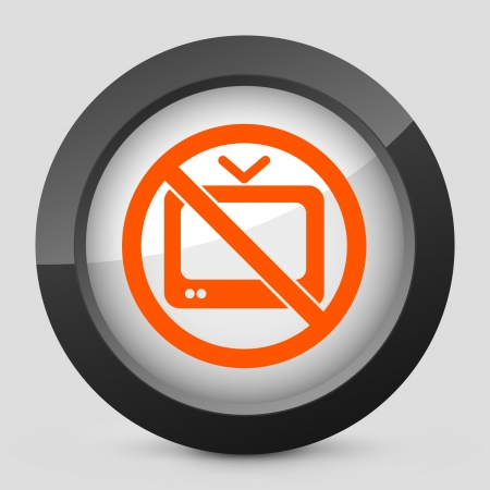 televised: Vector illustration of single isolated elegant orange glossy icon. Illustration