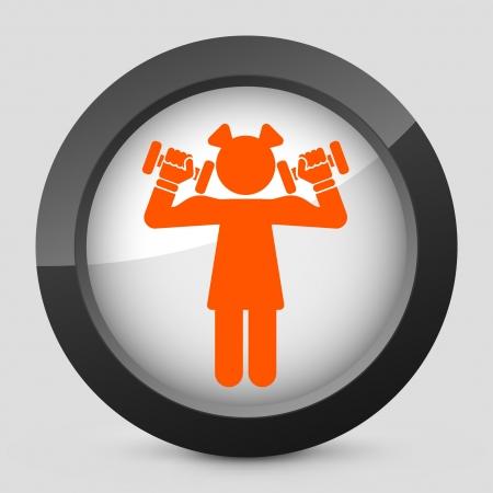 muscle training: Vector illustration of single isolated elegant orange glossy icon. Illustration