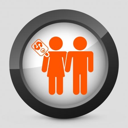 prostitue: Vector illustratie van enkele geïsoleerde elegante glanzende pictogram oranje. Stock Illustratie